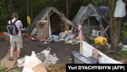 A photo taken on June 25 shows a Roma camp on the outskirts of Lviv that was abandoned after an attack.