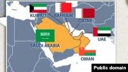 Катар мен Парсы шығанағындағы оған көршілес елдердің картасы (Көрнекі сурет).