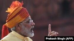 Kryeministri indian, Narendra Modi, duke mbajtur fjalim për shënimin e përvjetorit të 70-të të pavarësisë së Indisë