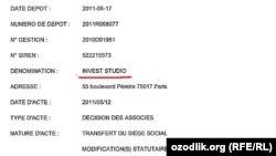 Ширкатлардан бирининг номи Invest Studio, иккинси эса Invest Service Group.