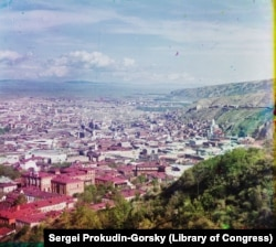 Tbilisi (known internationally as Tiflis until 1936) photographed from St. David's Church. The population of the city when this photo was taken more than a century ago was about 160,000.