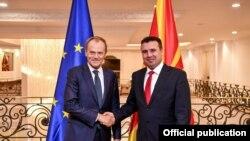 Predsednik Evropskog saveta Donald Tusk i premijer Severne Makedonije Zoran Zaev