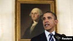 ԱՄՆ-ի նախագահ Բարաք Օբաման ելույթ է ունենում Սպիտակ տանը, Վաշինգտոն, 28-ը օգոստոսի, 2012թ.