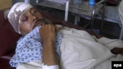 Ҳанифа Сафига қарши уюштирилган ҳужум пайтида яраланган афғонистонлик эркак.
