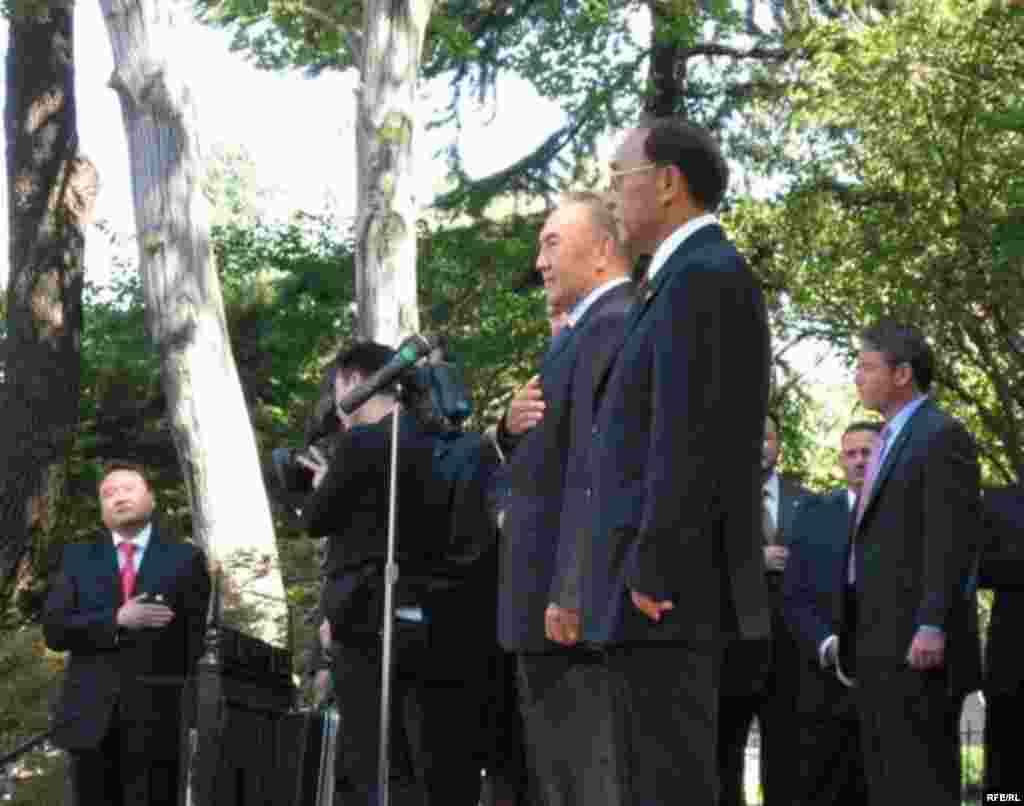 "Kazakh President Nursultan Nazarbaev at a ceremony at the Kazakh Embassy in Washington on September 28 (RFE/RL) - Oil-rich and democracy-poor, Kazakhstan is a puzzle to many in the West, despite President Nursultan Nazarbaev's efforts in 2006 to improve his country's image. At a briefing in September, RFE/RL analysts shed light on this ""selectively capitalist kleptocracy."" Listen to the briefing: Real Audio  Windows Media"