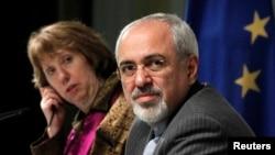 Верховний представник ЄС із закордонних справ Катрін Аштон (ліворуч) і міністр закордонних справ Ірану Джавад Заріф (праворуч), Женева