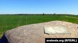Камень без таблічкі на фоне засеянага поля