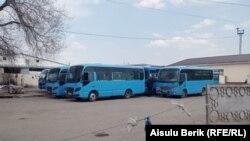 Автобусы на стоянке в автобусном парке. Тараз, 20 марта 2020 года.
