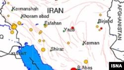 منطقه ای که در آن زمین لرزه رخ داده، با نقطه قرمز مشخص است.