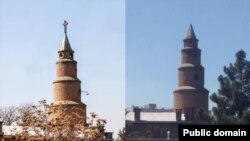 Assyrian Presbyterian church in Tabriz Iran was raided by intelligence agents on May 9, 2019 and closed down. The photo shows the church before and after, without a cross.