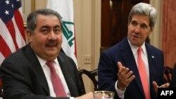 Sekretari amerikan i shtetit, John Kerry gjatë takimit të djeshëm me ministrin e jashtëm irakian, Hoshyar Zebari