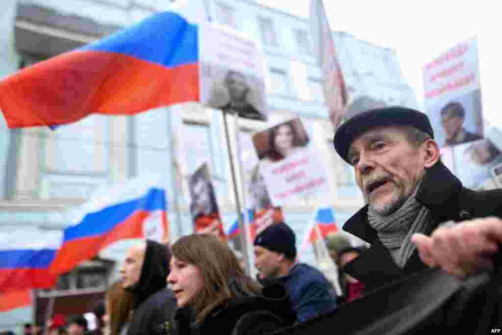 Правозащитник Лев Пономарев на Марше Немцова в Москве.