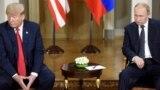 Дональд Трамп і Володимир Путін на зустрічі в Гельсінкі, 16 липня 2018 року