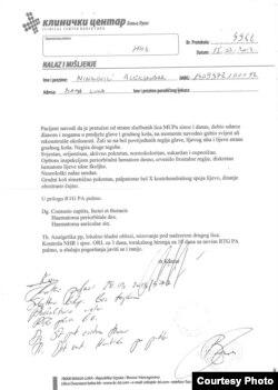 Nalaz iz KC Banjaluka nakon što je Ninković pretučen