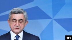 Armenian President Serzh Sarkisian at NATO's headquarters in Brussels