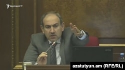 Armenia -- MP Nikol Pashinian speaks in parliament. 07March,2018