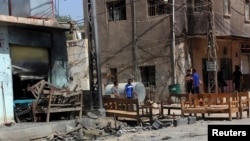 A cafe in an Iraqi Shi'ite neighborhood that was targeted by a suicide bomber
