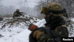 Ukrainian armed forces near Debaltseve, eastern Ukraine, on February 16.