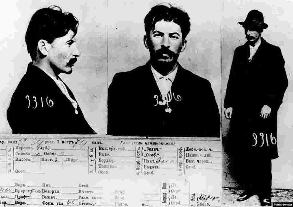 Police mug shots from the early 1900s of the man who would later be known as Josef Stalin. Around the time these photos were taken, the future Soviet dictator's gang of communist revolutionaries shocked the world by killing some 40 people in a bank robbery in the center of Tbilisi.