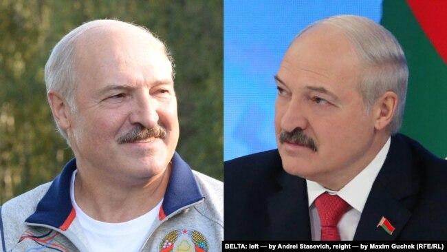 Аляксандар Лукашэнка на фота БелТА: зьлева фота Андрэя Стасевіча (жнівень 2017-га), справа фота Максіма Гучэка (люты 2017-га)