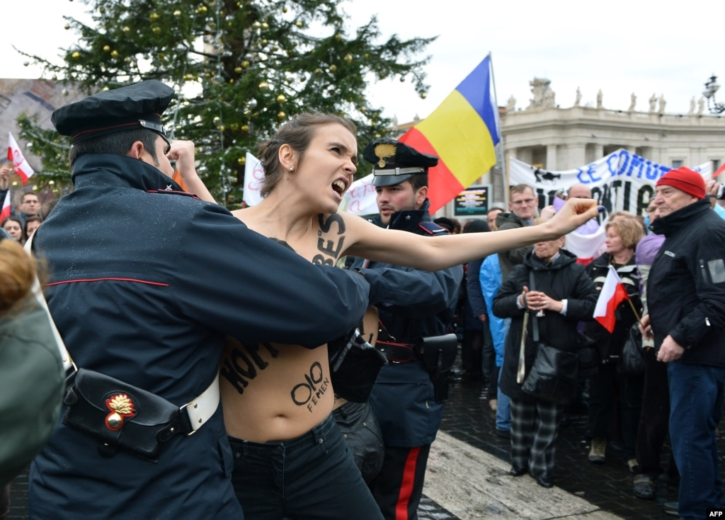 Femen Protests Pope's Stand Against Same-Sex Marriage