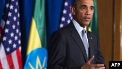باراک اوباما، رئیسجمهوری آمریکا در سفر خود به اتیوپی. ۲۷ ژوئیه ۲۰۱۵.
