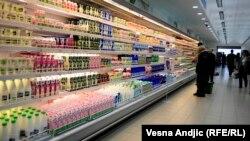Ilustracija, mleko u trgovini