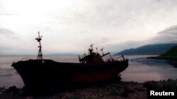An abandoned Japanese ship rusts on the beach of Russia's Iturup Island in the remote southern Kuriles chain.