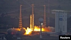 Europe's Vega rocket lifts off from the European Space Agency launch center in Kourou.