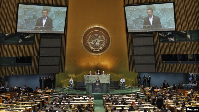 Iranian President Mahmud Ahmadinejad addresses diplomats during a high-level meeting of the General Assembly on the Rule of Law at the United Nations headquarters in New York on September 24, where he sparked an Israeli walkout.