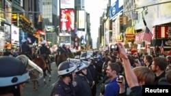 Demonstranti na ulicama New Yorka - Occupy Wall Street , septembar, 2011.