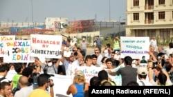 Azerbaýjanyň oppozisiýasy ýurtda taýýarlyk görülýän saýlawlara protest bildirýär, Baku, 2013-nji ýylyň 18-nji awgusty.