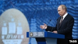 Russian President Vladimir Putin says the Russian economy is growing again after a deep recession.