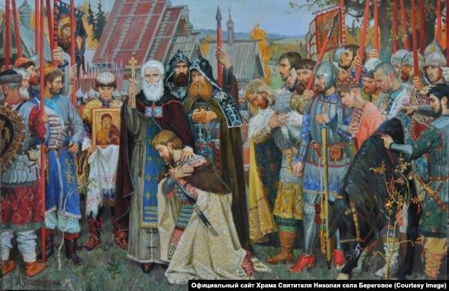 Згідно з російсбкою іторіограією, святий Сергій Радонезький благословив Дмитра Донського на битву з татарами