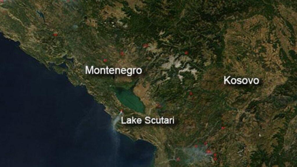 Geografski prikaz Crne Gore i Kosova