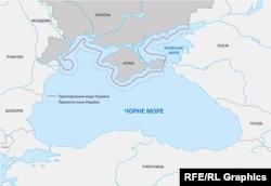Иллюстрационная карта, на которой отмечены территориальные воды Украины и прилегающая зона