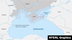 Ілюстративна карта, де зазначено територіальні води України та прилеглу зону