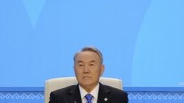 Kazakh President Nursultan Nazarbaev attends the Nur Otan political party congress in Astana today.