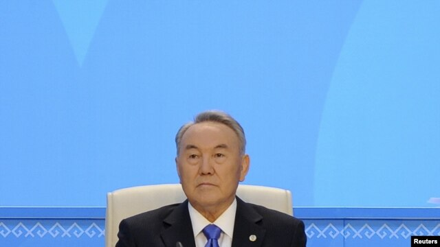 Kazakh President Nursultan Nazarbaev attends the Nur Otan political party congress in Astana today.
