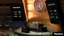 БҰҰ Бас ассамблеясындағы Палестинаның дамушы елдер тобына төраға болуына қатысты дауыс беру. Нью-Йорк, 16 қазан 2018 жыл.