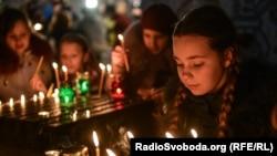 Pamje nga Muzeu Holodomor në Kiev të Ukrainës