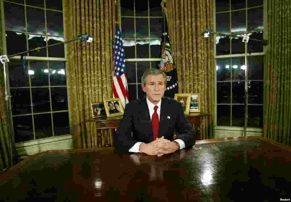U.S. President George W. Bush announces the start of U.S. strikes in Iraq during a televised address from the Oval Office on March 19.