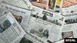 Generic – A photo of International and Russian newspapers, Prague, 17Jun2009