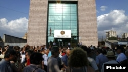 Armenia -- People near the court in Yeravan where opposition activists were sentenced to jail. 20July, 2012
