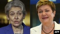 ЮНЕСКО бас директоры Ирина Бокова (сол жақта) мен Еурокомиссия комиссары Кристалина Георгиева.