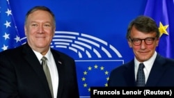 U.S. Secretary of State Mike Pompeo poses with European Parliament President David Sassoli at the EU Parliament in Brussels, Belgium, September 3, 2019