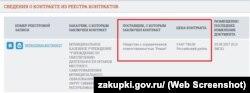 Скриншот закупок ООО «Ревал»