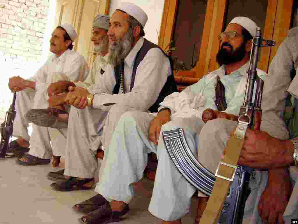 Tribal elders from Khyber, one of the seven semi-autonomous agencies in the FATA, meet in Peshawar in May 2006 to discuss ways to quell violence in North Waziristan - Much of the Afghan criticism was focused on the Northwest Frontier Province (NWFP) -- which includes the Tribal Areas -- and Baluchistan Province.