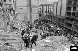 Последствия взрыва в здании AMIA. 18 июля 1994 года