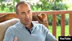 Armenia - A screenshot of former President Robert Kocharian's interview with Nagorno-Karabakh television, 31Aug2011.